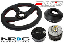 NRG 320mm Race Leather Red St Steering Wheel 141H Hub 2.0 Silver Release Lock LB