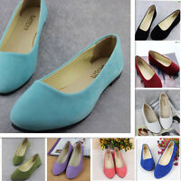 Women's Casual Flats Shoes Ballerina Ballet Loafers Suede Slip On Lazy Peas New