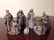 7 Piece Burlap Design 8 inch Metallic Resin Christmas Nativity Figurine Set