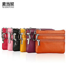 Women Leather Double Zip Small Change Wallet Bank Card Coin Purse Keyings Decent