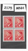 #2175  MNH block / Adolph Hitler / 80 Hal / 1942 German Occupation / Third Reich