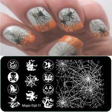 Arte en uñas placa de imagen Planchas para Estampar Halloween Bruja Boo Murciélagos Arañas Web (MD11)