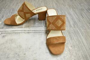 **Anne Klein Nara Slide Sandal, Women's Size 8M, Dark Natural Suede NEW