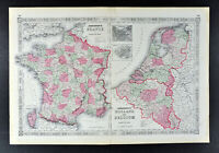 1864 Johnson Map France Belgium Holland Netherlands Paris Amsterdam Brussels