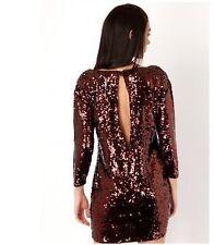 Embellished Sequin Sparkle Shinning Sleeves Dress  12/14 Brown