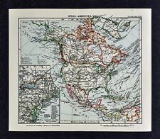 c1925 Taschen Atlas Map North America United States Canada Mexico New England
