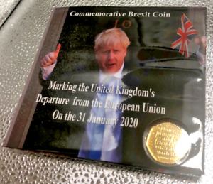 Gold Plated Brexit Coin + Brexiteers Limited Edition Commemorative Coin Holder