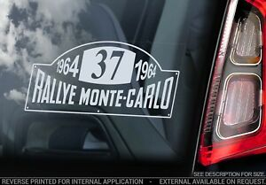 MONTE CARLO RALLY '37' Car Sticker,  1964 Mini Team Club Decal Window Sign -V01