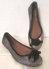 Donald J Pliner Gracie ballet flats shoes sz 6.5 M knot front metallic leather
