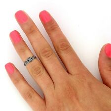 sterling silver knuckle ring flower tribal design midi ring adjustable Ring T126