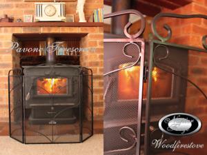 FIRE SCREEN / GUARD SHIELD / FIREPLACE FIRESCREEN / WROUGHT IRON 3 PANEL Pavone