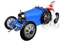 BUGATTI T35 #30 GP BLUE W/FEMALE RACER FIGURINE 1/18 DIECAST CAR BY CMC 100B018