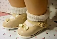 "VINTAGE NOS BEIGE VINYL MARY JANE SHOES(3""X1 3/8"") SOCKS fit 20"" TINY TEARS DOLL"