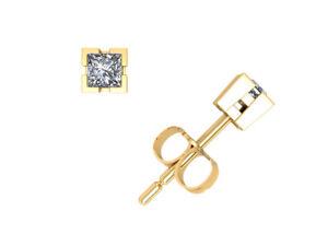 1/4Ct Princess Cut Diamond Solitaire Stud Earrings 14k Yellow Gold V-Prong F VS2