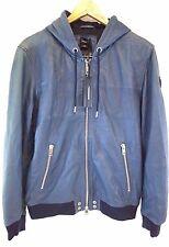 NWT Diesel Men's L-Collins Full-Zip Blue Sheepskin Leather Hooded Jacket Large L