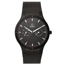 Obaku Harmony Men's Black Plated Multidial Watch With Mesh Bracelet B100GBBMB3