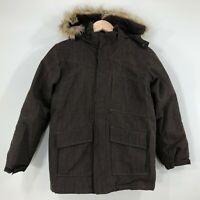 Lands End Youth Boys Ski Winter Coat Jacket Size M 10-12 Brown Hood