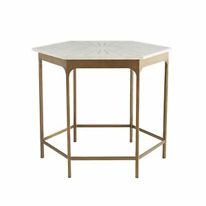 """32.5"""" Accent Table Contemporary Iron Marble Brass Antique White Gold Yes"""
