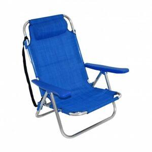 Spiaggina da mare pieghevole in alluminio 42x48 cm con cuscino blu