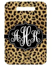 MONOGRAM LEOPARD Print BAGTAG Personalized Info Luggage Bag Tag 2 side printed