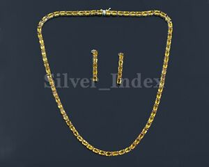 38.55CTS Natural Citrine Gemstone 925 Sterling Silver Tennis Necklace & Earring