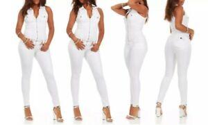 Cover Girl Denim Jumpsuit Jeans Women Sleeveless Slim Fit Stretch- Juniors 5/6