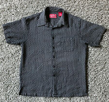 New listing Vintage Men'S Seersucker Short Sleeve Shirt Woody'S Retro Lounge Black White Lg