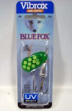 Blue Fox Vibrax 3/8 #4 Green/Fl Yellow/Silver UV Bright Treble Siwash Fish Lure