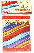 ~MEXICAN PARTY 5 DE MAYO  ~8- INVITATIONS WITH ENVELOPES  PARTY SUPPLIES