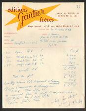 """GYE-sur-SEINE (10) IMPRIMERIE / EDITEUR de CARTES POSTALES """"GAUTIER Freres"""" 1959"""