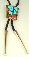 Silver Turquoise Coral Bolo Tie Tips Native American Zuni Wayne Cheama Sterling