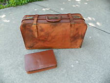 VINTAGE ALL LEATHER BELTED SUITCASE & MENS TRAVEL CASE, 1940-50'S