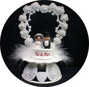 Adorable Mr & Mrs Wedding Cake Topper Bride Groom Top Heart Ornament centerpiece