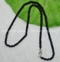 Fine 2x4mm Black Agate Faceted Roundel Gems Beads Necklace Silver Clasp C2350