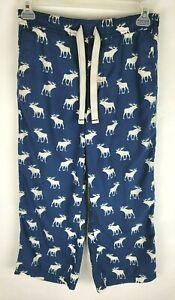 Rare Vintage Abercrombie Fitch Mens Medium Navy White Moose Lounge Pants