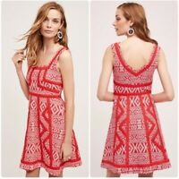 NEW Anthropologie Emma Dress By Maeve Red Floral Fit + Flare Size Sz 8
