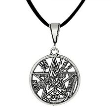 Sterling Silver Tetragrammaton Pentagram Pagan Wiccan Pendant 27mm | Made in USA