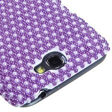 Samsung Galaxy Note II 2 - DIAMOND PEARL BLING HARD CASE COVER PURPLE POLKA DOTS
