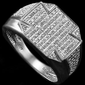 Bold Men's 14K White Gold Over Solid Sterling Silver 3/4 CTW Diamonds Size 11