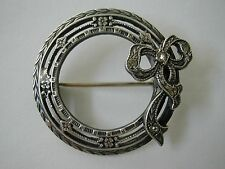 Circle Bow Pin Antique Victorian Sterling Silver