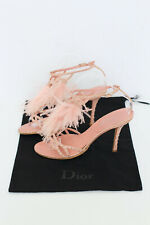 DIOR pink ostrich feather leather strap studded heels pumps UK5.5 US8.5 EU38.5