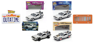 Set of 4 Time Machines DeLorean Back to the Future 1:24 + 2 License Plates !