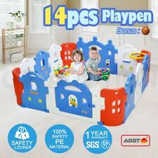 14-Sided Baby Playpen Kids Castle-shaped Safety Game Toddler With Basketball Set