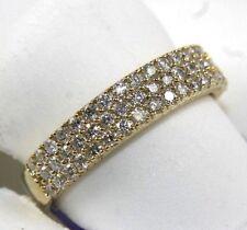 3-Row Round Diamond Pave Ring Band 14k Yellow Gold .70Ct