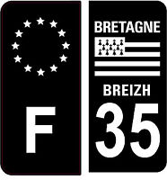 4 Autocollants 2 paires Stickers style Auto Plaque Black Edition noir F+ 35