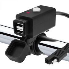 12V SAE USB Motorrad Lenker Handy PDA GPS Ladegerät mit LED/Schalter/Kabelbinder