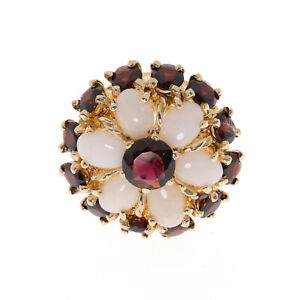 Pre-Owned 9ct Opal and Ruby Cluster Ring