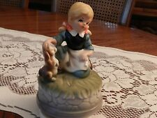 "Vintage Ceramic Little Girl and Her Dog Rotating Music Box Collectable 6"" Tall"