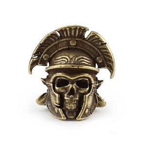 Handmade Roman Helmet Paracord Bead Skull Pendant For Spyderco Knife Lanyard