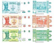 Moldova 5 + 10 + 20 Lei 2013 Lot de 3 billets 3 pcs UNC